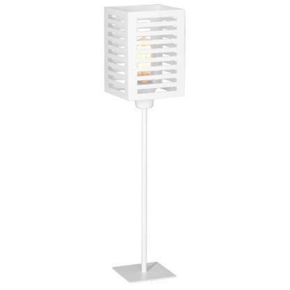 Biała lampa stołowa Lador - metalowy klosz