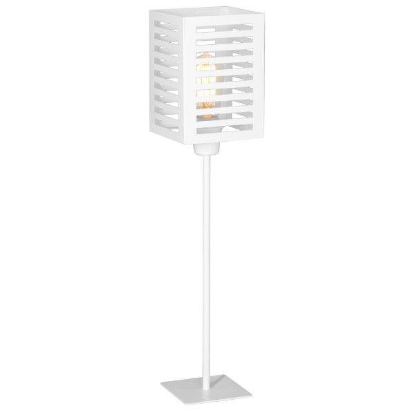 nowoczesna biała lampa stołowa