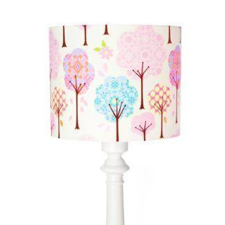 Wysoka lampa podłogowa Bajkowy Las - biała, bawełniany abażur