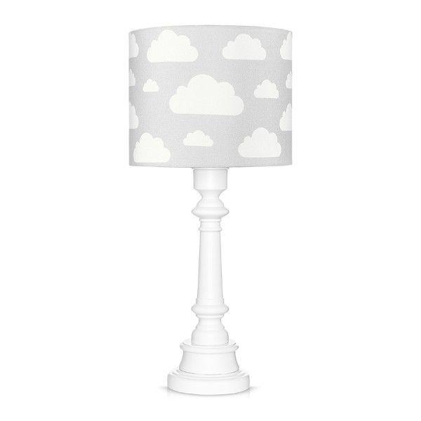 Lampa stołowa Chmurki - biała podstawa, szary abażur