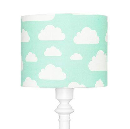Biała lampa podłogowa Chmurki Mint - biała podstawa, błękitny abażur
