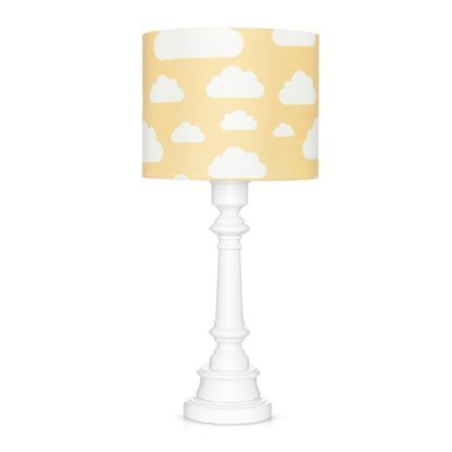 biała lampka nocna z żółtym abażurem