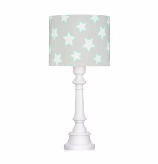 Lampa stołowa Stars - szary abażur, biała podstawa