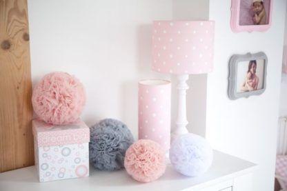 lampki dziecięce różowe w kropki