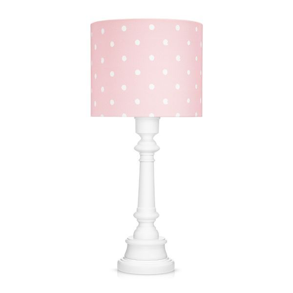 biała lampa nocna z różowym abażurem