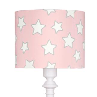 Subtelna lampa podłogowa Pink Star - różowy abażur w białe gwiazdki