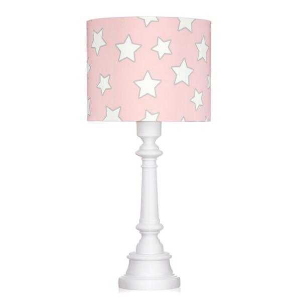 Dziecięca lampa stołowa Stars - różowy abażur w białe gwiazdki