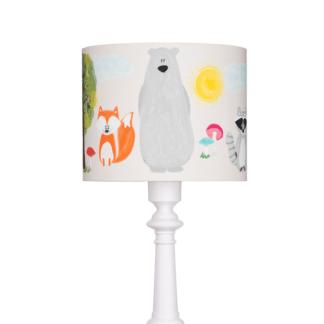 Biała lampa podłogowa Przyjaciele z Lasu - abażur w zwierzątka