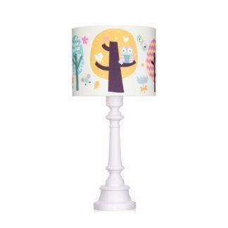 Lampa stołowa Sowie Opowieści - biała z kolorowym abażurem