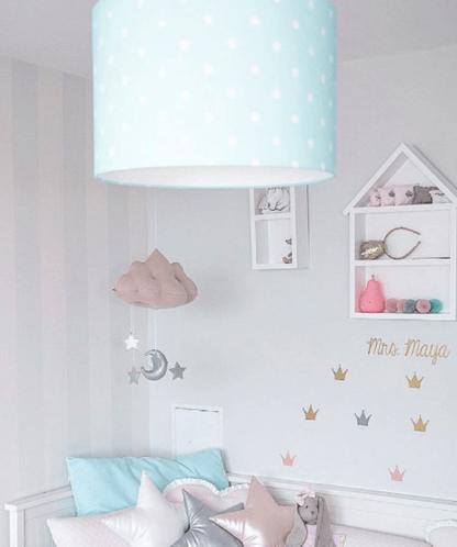 dziecięca lampa z niebieskim abażurem
