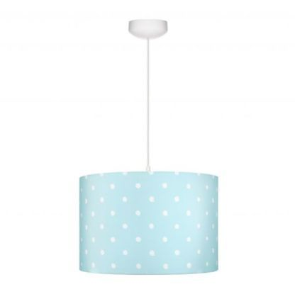 jasnoniebieska lampa wisząca z abażurem
