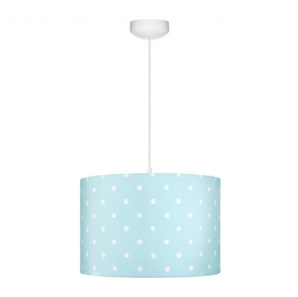 błękitna lampa wisząca w białe kropki