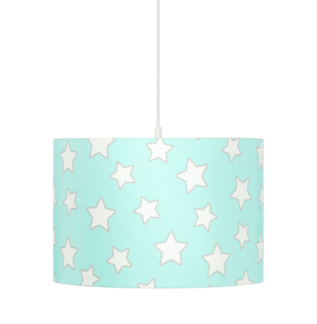 Bawełniana lampa wisząca Stars - miętowy abażur w białe gwiazdki
