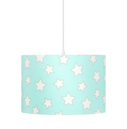 niebieska lampa wisząca w białe gwiazdki