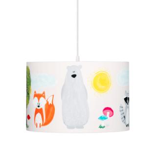 Biała lampa wisząca Przyjaciele z lasu - okrągły abażur