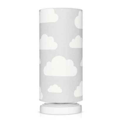 Szara lampka nocna Chmurki Grey - abażur w białe chmurki