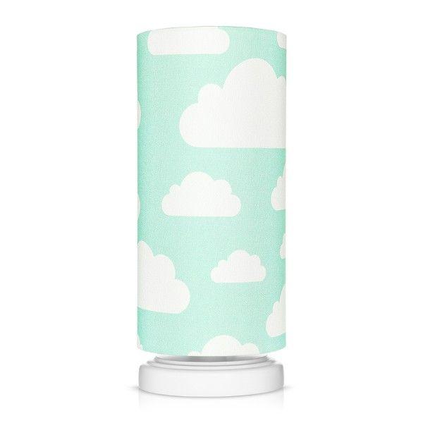 Lampka nocna Chmurki Mint - bawełniany abażur w białe chmurki