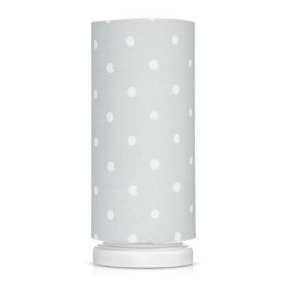 lampa stołowa szara w białe grochy