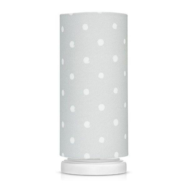 Szara lampka nocna Lovely Dots Grey - abażur w białe kropki