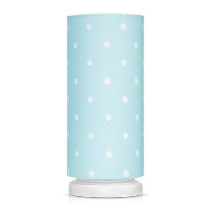błękitna lampka nocna w białe kropki