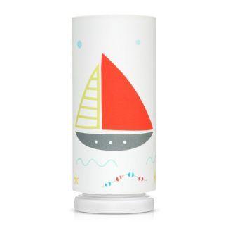 Biała lampka nocna Morska Przygoda - abażur z czerwoną żaglówką