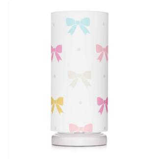 Biała lampka nocna Princess Kokardy - bawełniany abażur w kolorowe kokardki