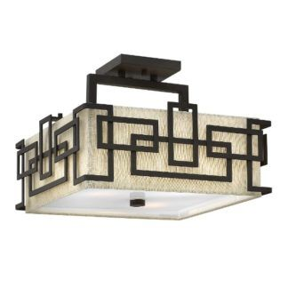 Lampa sufitowa Lanza - beżowy abażur, brązowa oprawa