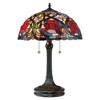 Klasyczna lampa stołowa Larissa - witrażowy klosz