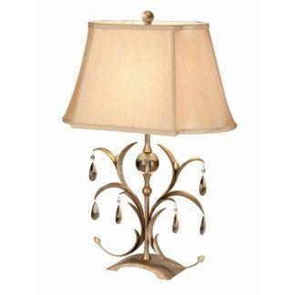 Lampa stołowa Lily - beżowy abażur, dekoracyjna podstawa