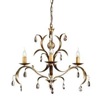 Luksusowy żyrandol Lily - na 3 żarówki, metaliczny brąz
