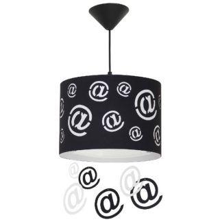 Lampa wisząca Mail - czarny klosz z białym motywem