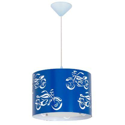 Granatowa lampa wisząca Motor - dziecięca, metalowa