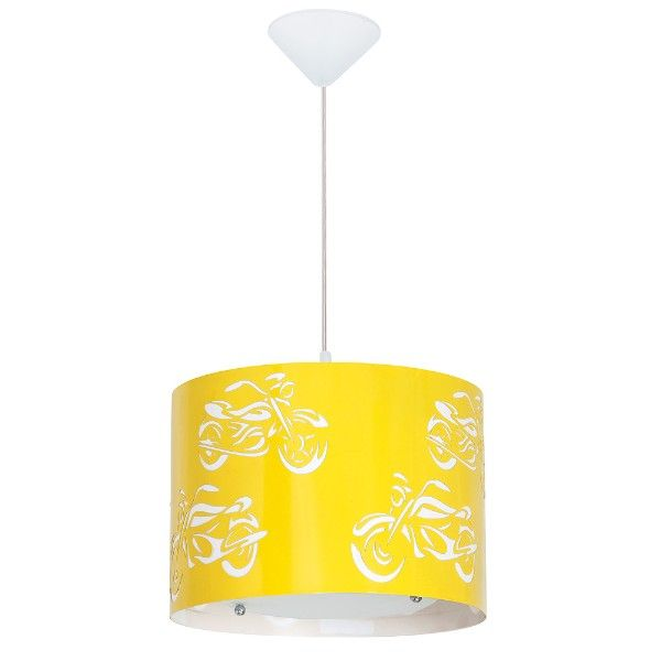 Żółta lampa wisząca Motor - dziecięca, metalowa