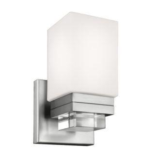Elegancki kinkiet Maddison - srebrny z białym kloszem, IP44