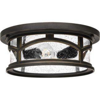 Okrągły plafon Marblehead - ciemny brąz, szkło, IP44