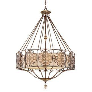 Efektowna lampa wisząca Marcella - brąz i złoto, beżowy abażur