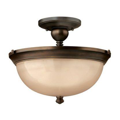 plafon brązowy z beżowym szklanym kloszem