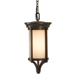 Nieduża lampa wisząca Merrill - brązowa oprawa, kremowe szkło, IP23