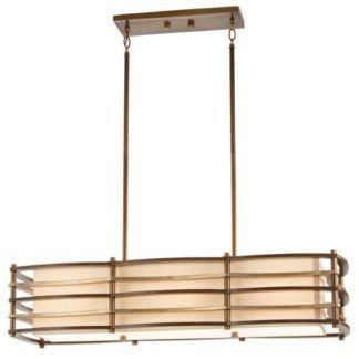 Podłużna lampa wisząca Moxie - beżowy abażur, drewniane listwy