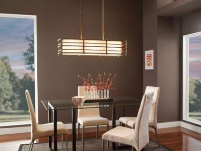 podłużna lampa wisząca z abażurem, drewniane listewki