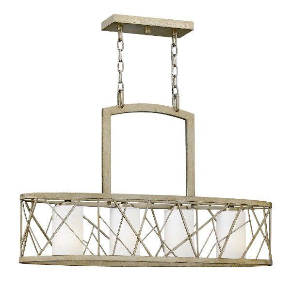 podłużna lampa wisząca nad stół, szampańska