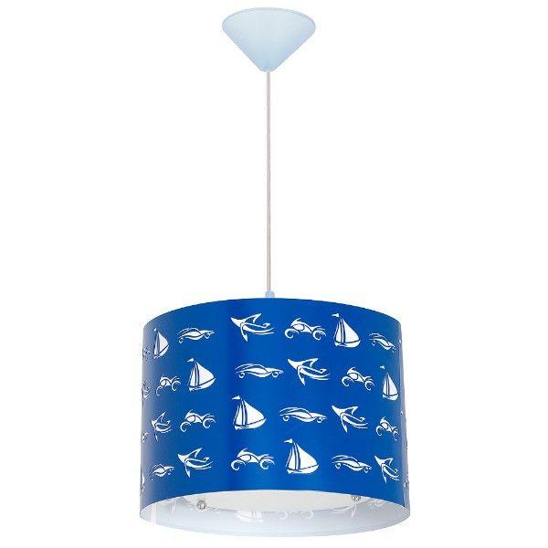 niebieska lampa wisząca w statki dla chłopca
