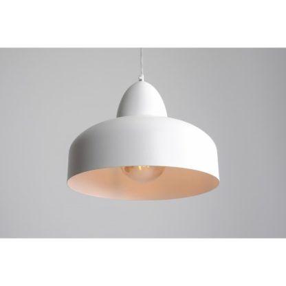 okrągła metalowa lampa wisząca biała