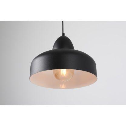 czarna okrągła lampa wisząca z metalu
