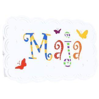 Kinkiet dziecięcy Maja - kolorowe imię, motylki