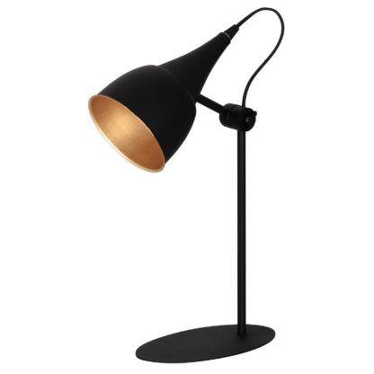 Efektowna lampa stołowa Sento - czarna, metalowa