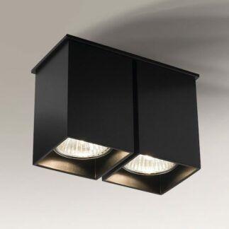 Podwójna lampa sufitowa kwadratowa Toda - czarna