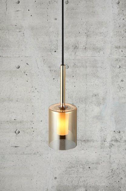 lampa wisząca złota ze szkła