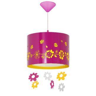 Różowa lampa wisząca Wiosna - dziecięca, w kwiatki