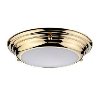 Złoty plafon Welland - szklany klosz, LED, IP54